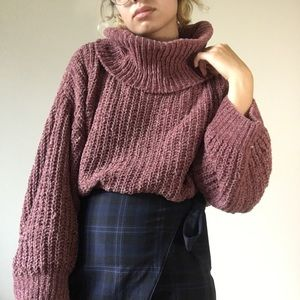 Express dusty mauve chenille cowl neck sweater